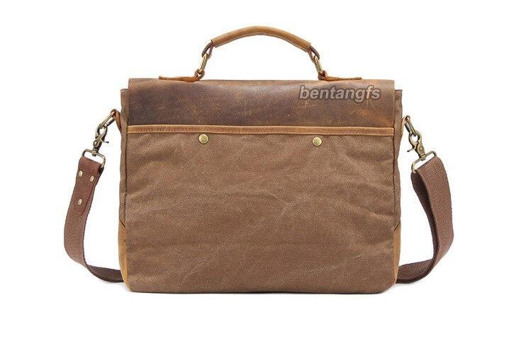 Vintage Men Full Grain Real Leather Brown shoulder bag Messenger Briefcase M133#