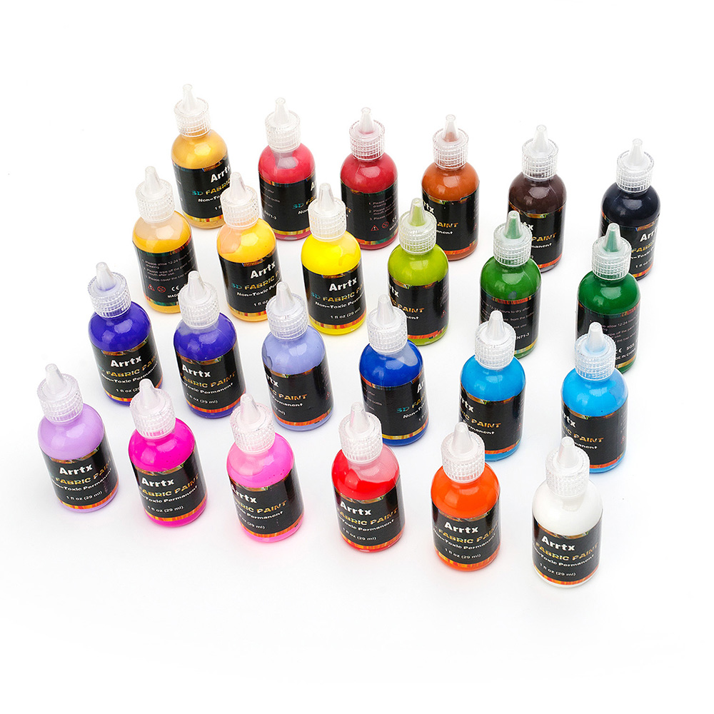 Arrtx 24 Assorted Colors 3D Fabric Paint for Fabric/Canvas/Wood/Ceramic/Glass Fine point Tip for Precise Application Non toxic