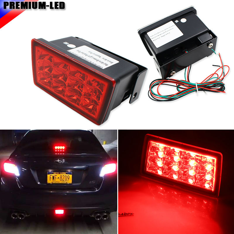 iJDM Red Lens Strobe F1 Style LED Rear Fog <font><b>Light</b></font> Kit For 2011-up Subaru WRX STi, Impreza or VX Crosstrek ( Mounting Bracket)