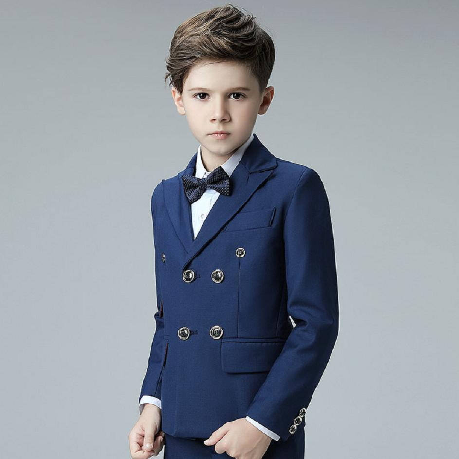 2019 Spring New Boys Suits Double Breasted High Quality Blazer Solid Color Lapel Prom Suit Enfant