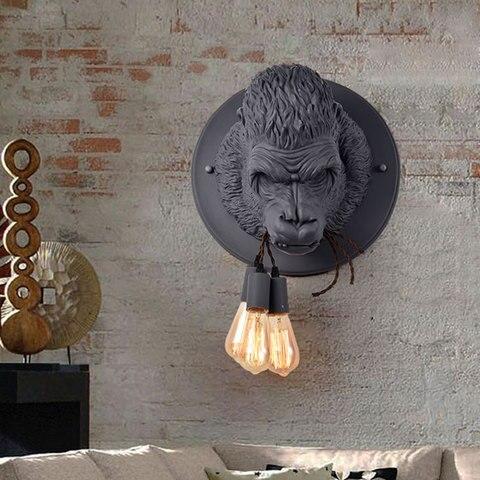 nordic resina gorilla retro lampada de parede