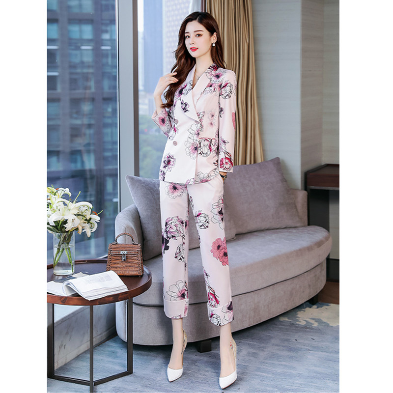 Women's Suit New Women's Printing Double-breasted Suit Women's Fashion Slim Slimming Suit 2 Sets (jacket + Pants)