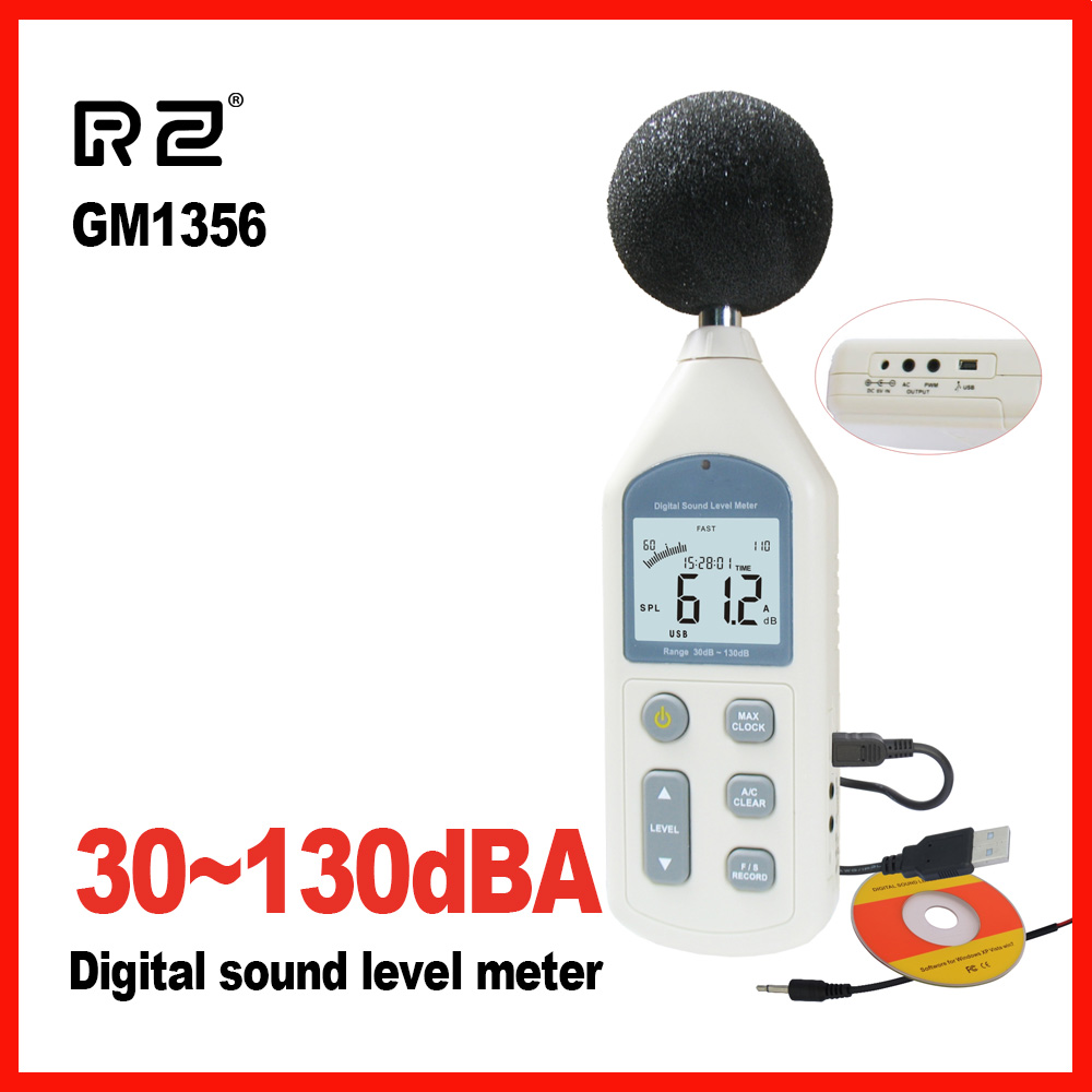 RZ New Noise Tester Digital Sound Level Meter Meters 30-130dB LCD A/C FAST/SLOW dB screen USB + Software GM1356 2pcs lot gm1357 digital sound level meter noise tester 30 130 db lcd a c fast slow db screen