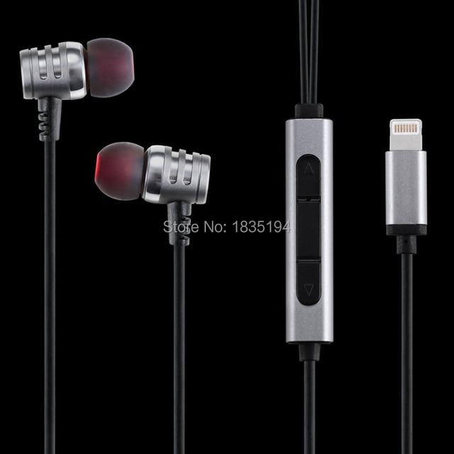 Free shipping in-ear headphones for Lightning iphone 7 self-powered digital HIFI headphones