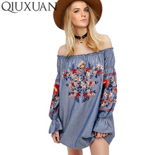 Summer Women Embroidery Dress Long Sleeved Slash Neck Flowers Match Fashion Print Floral New Woman Clothes