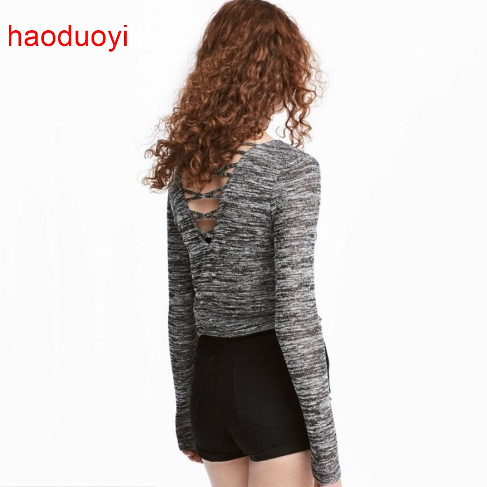 Women Word Store HDY Haoduoyi Fashion Gray Back Hollow Sweater Women Long Sleeves Knitted Sweater Slim Pullovers Autumn Female Jumper