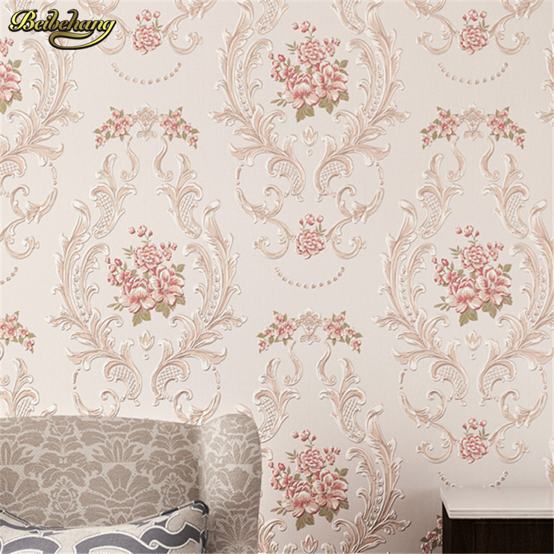 beibehang Warm European - style pastoral network wallpaper living room bedroom TV 3D solid thick three - dimensional wallpaper beibehang stereo 3d nonwoven fabric wallpaper warm bedroom living room full of european style pastoral flowers wallpaper behang