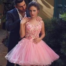 Elegant 2019 Short Cocktail Formal Dress 3D Flower Pink  tulle for Wedding Party Homecoming