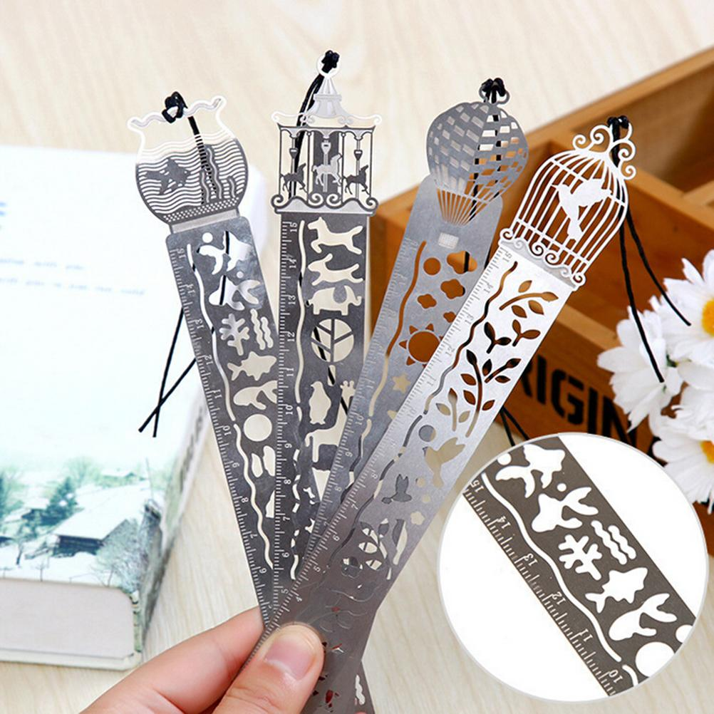 1Pcs  For Student Drawing Gift School Supplies Wholesale 4 Styles Cute Creative Horse Birdcage Hollow Black Metal Bookmark Ruler