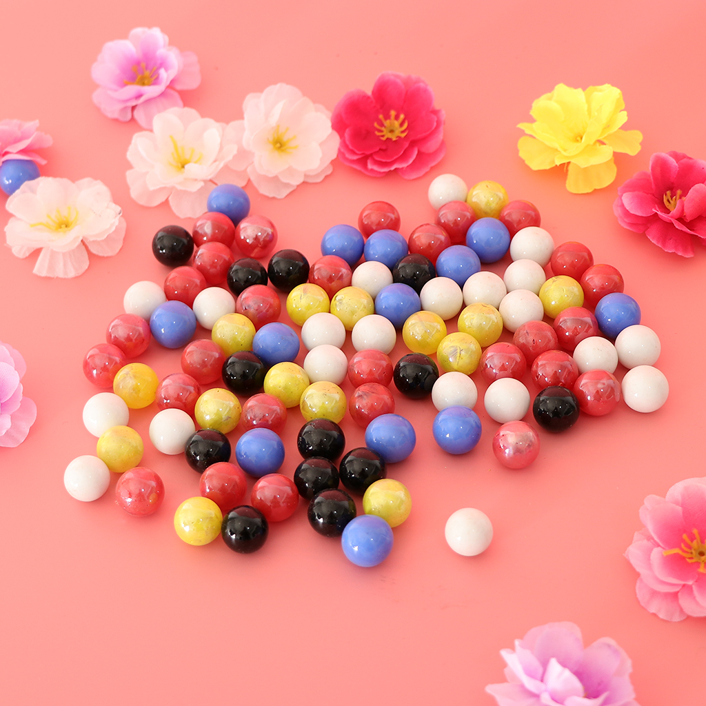 90x <font><b>16mm</b></font> <font><b>Glass</b></font> <font><b>Beads</b></font> Marbles Ball Run Chinese Checkers Toys Fish Tank Decor image