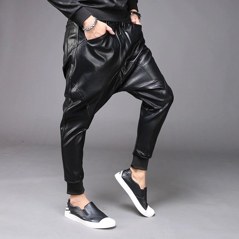 M 6XL nouvelle mode hommes Punk Moto PU Faux cuir décontracté Harem goutte entrejambe pantalon jean rue danse DJ Rock pantalons pantalon M 2XL - 2