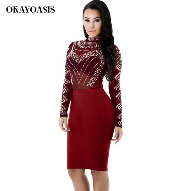 OKAYOASIS Elegant Women Wine Red See Through Mesh Rhinestone Party Dresses  Long Sleeve Bandage Bodycon Midi Dress Clubwear Robe 9e81bd9b01