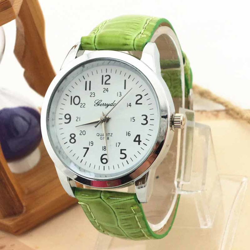 Excellent Quality relojes mujer brand new luxury womens quartz leather watches on dial 4 colors wholesale Free shipping