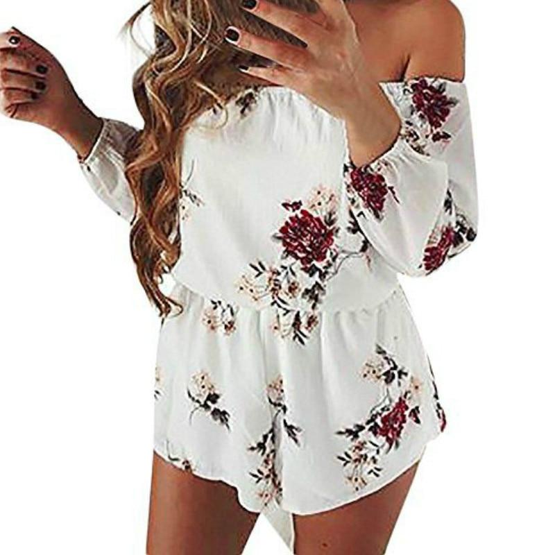 Slash Neck Summer Shorts Jumpsuit 5XL New Floral Printed Beach Playsuits Off Shoulder Women Boho Chiffon Rompers Plus Size GV475