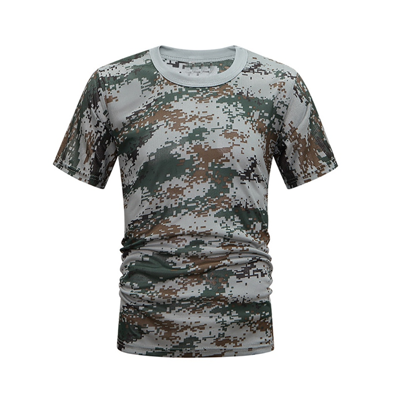 Hunting Camo Shirt Tactical Camouflage Breathable Quick Drying Shirt Loose Casual Tee Tops Apparel for Army Hunting Men Women