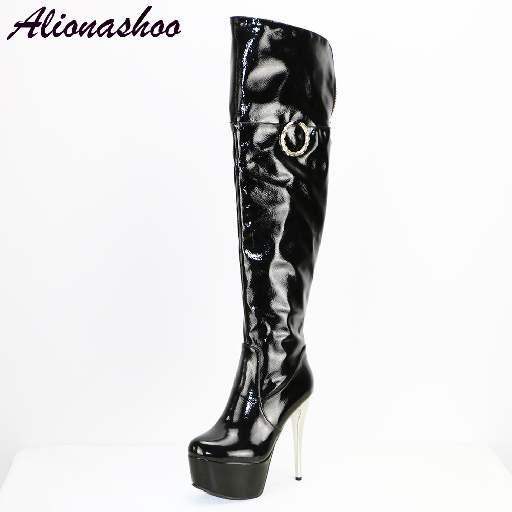 Alionashoo Patent Leather Sexy Thigh High Heel Boots Winter Women Over the Knee Boots Plus Size Shoes Platform Zipper Black Red nayiduyun new thigh high shoes women wedge slip on over the knee boots high heel punk sneaker oxfords platform riding greepers