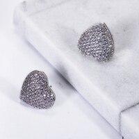 Anniversary verrassing! nieuwste Fabulous Top Verkoop Vrouwen Oorknopjes Kleine Hartvorm Zirconia Brincos de flores de cristal