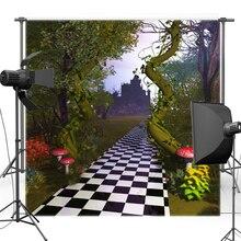 Backdrops Pano de fundo de vinil Alice no País Das Maravilhas Castelo Floresta Cogumelo Novo Tecido de Flanela F1754 Fundo Fotografia De estúdio Da Foto Do Bebê