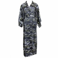 2018 New Black Robe Printed Flower kimono Chinese Women Casual Bath Gown Rayon Nightdress Satin Sexy Nightwear One Size