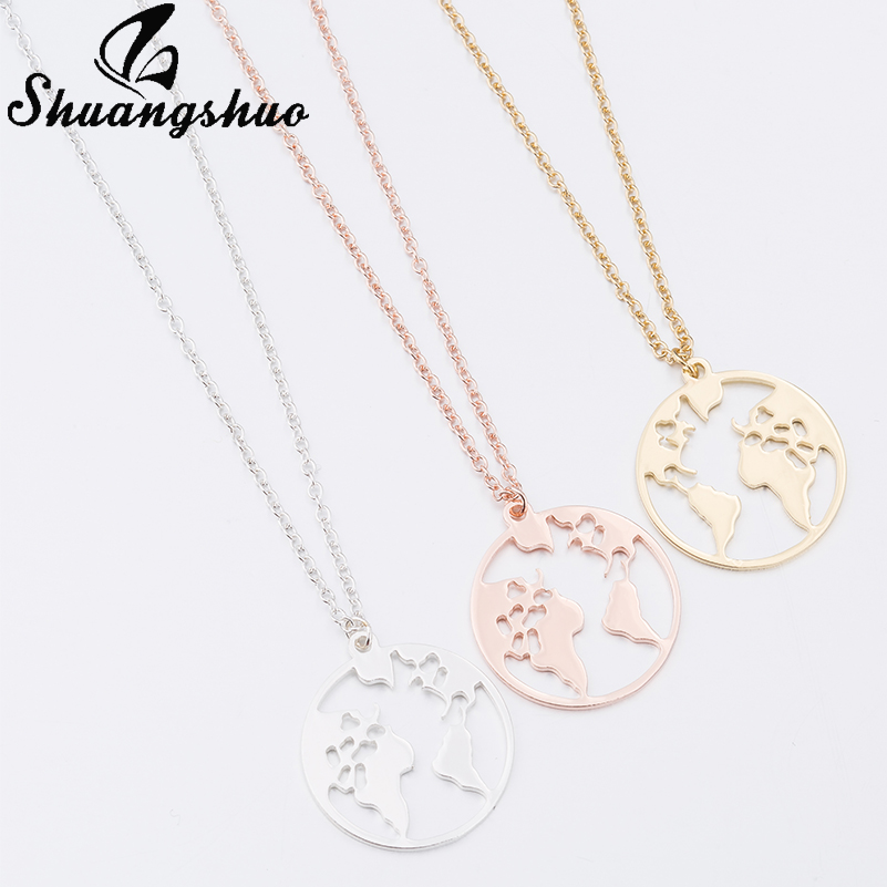 Shuangshuo Vintage Origami World Map Necklace Women Geometric Necklace Round Necklace Circle Necklaces & Pendants Choker Jewelry 6
