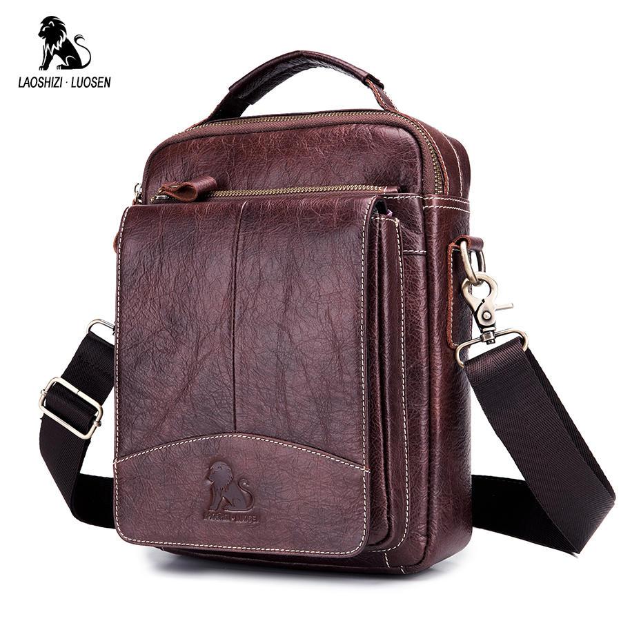 Image 5 - LAOSHIZI LUOSEN Messenger Bag Men Genuine Leather Shoulder Bag Men's bags Small Flap Casual Crossbody Bags for Men Handbag 2018-in Crossbody Bags from Luggage & Bags