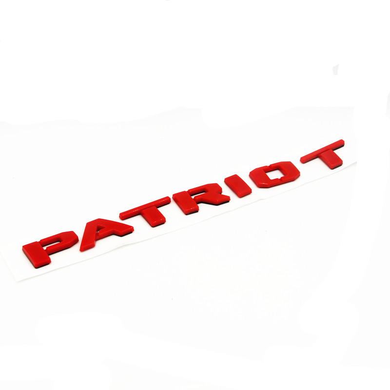 Red ABS Letters Word  PATRIOT  Trunk Badges Emblem Letter Decal Sticker for Jeep Patriot