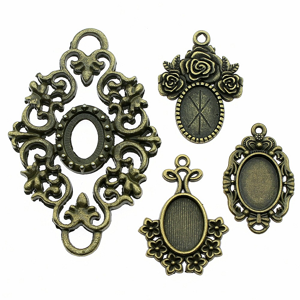 8pcs Oval Base Setting Trays Necklace Pendant Fit 13X18mm Oval Cabochon