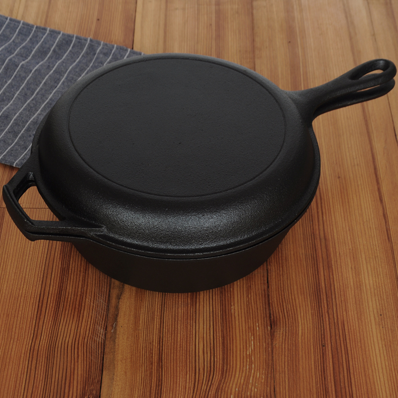 Poêle à soupe double usage en fonte brute lourde poêle épaissie sans revêtement poêle à omelette antiadhésive 26cm