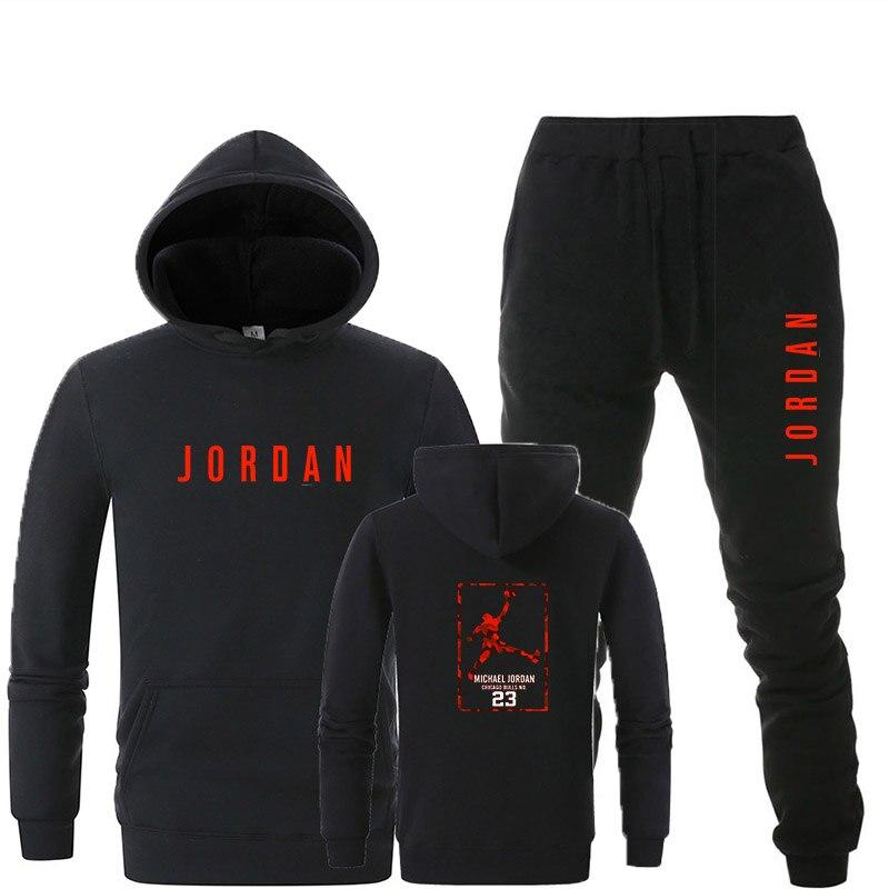 7b346a091d7 New Tracksuit men Sportswear Set Fleece Hoodie suit Jordan letter print  Malechandal hombre Spring Autumn winter hoodie+Pants Set