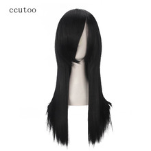 """Ccutoo אורוצ ימארו 60 ס""""מ/23.6 שחור אינץ ישר שיער סינטטי ארוך פוני מלא פאות Cospaly מלא סיבי טמפרטורה גבוהה"""