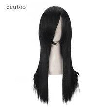 Ccutoo Orochimaru 60 cm/23.6 inç Siyah Düz Uzun Sentetik Saç Tam Patlama Yüksek Sıcaklık Fiber Cosplay Tam Peruk
