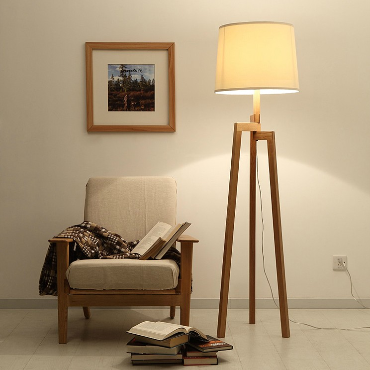 Online Shop Modern Tall Wood Floor Lamps