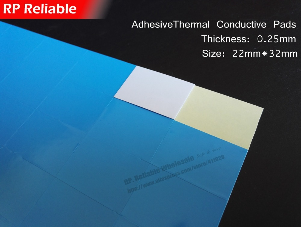 0.25mm Thick, (22mm*32mm) Double Sides Adhesive Thermal Conductive Pads for Aluminum Heat Sink, LED Lighting -- RP Reliable