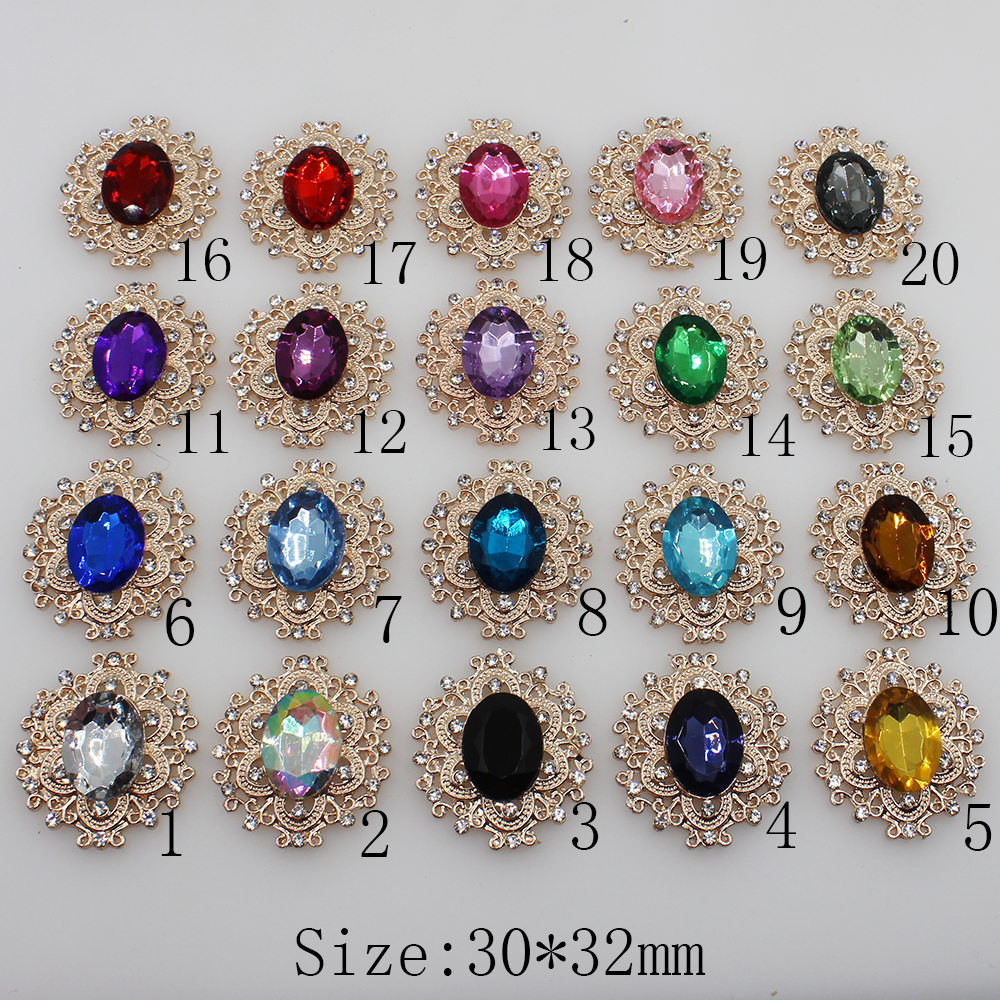 Fashion 10pcs/lot 20colors  30*32mm Decorative Metal Rhinestone Button Flat Back Rose Gold Base DIY Accessories Scrapbooking