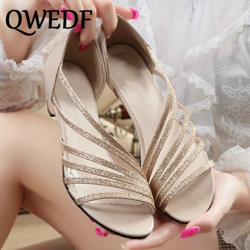 Office & School Supplies Enthusiastic Womens Sandals 2019 New Summer Bling Sequins With Low-heeled Shoes Casual Dance Lightweight Sandals Mature Mother Shoes Xm-26