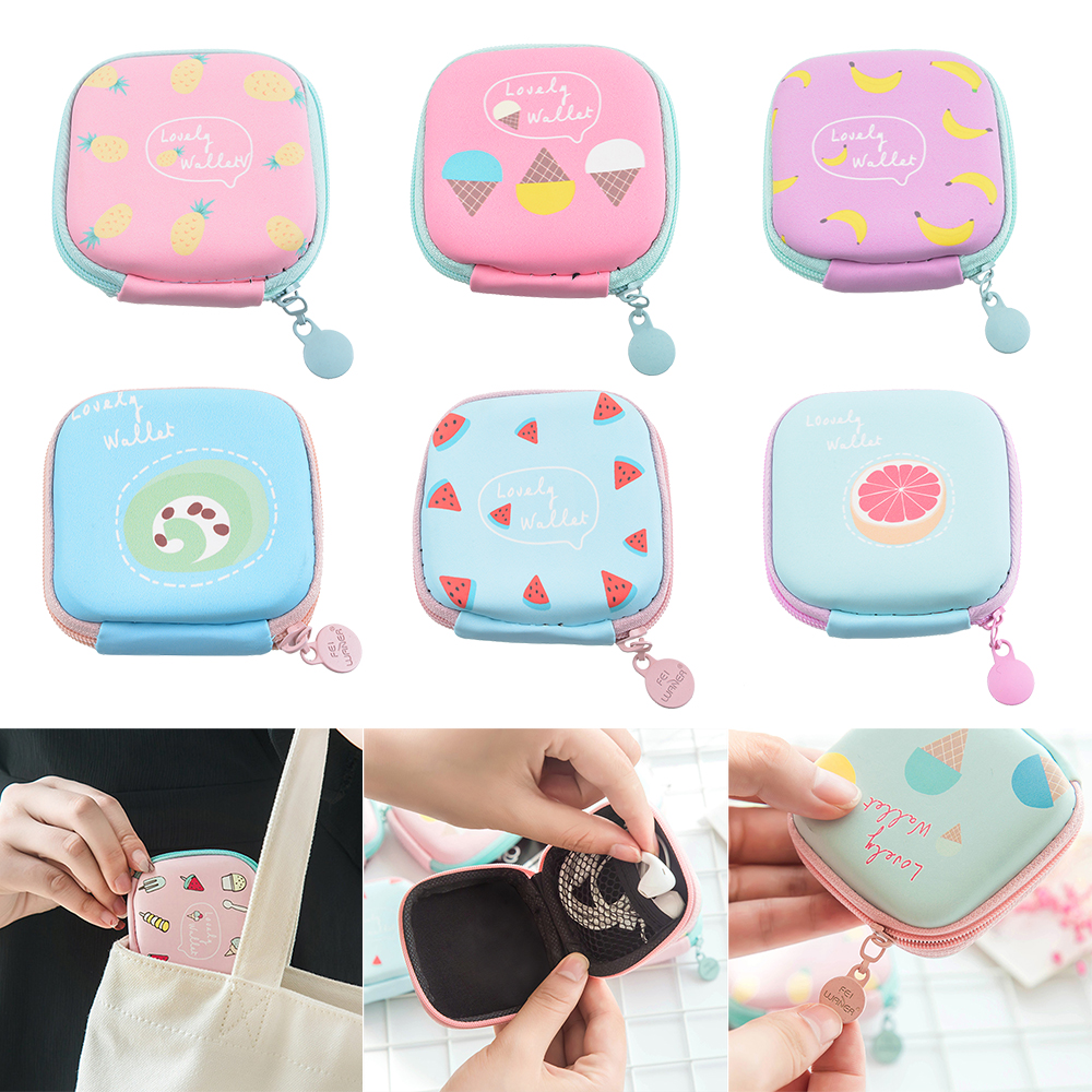 Portable Headphone Storage Case Mobile Phone Data Cable Charger Storage Box Headset Bag Digital Finishing Package 7.2x7.2x3.2cm