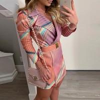 Striped print midi blazer dress with belt Long sleeve turn down collar autumn women dress 2019 Elegant office workwear Vestidos