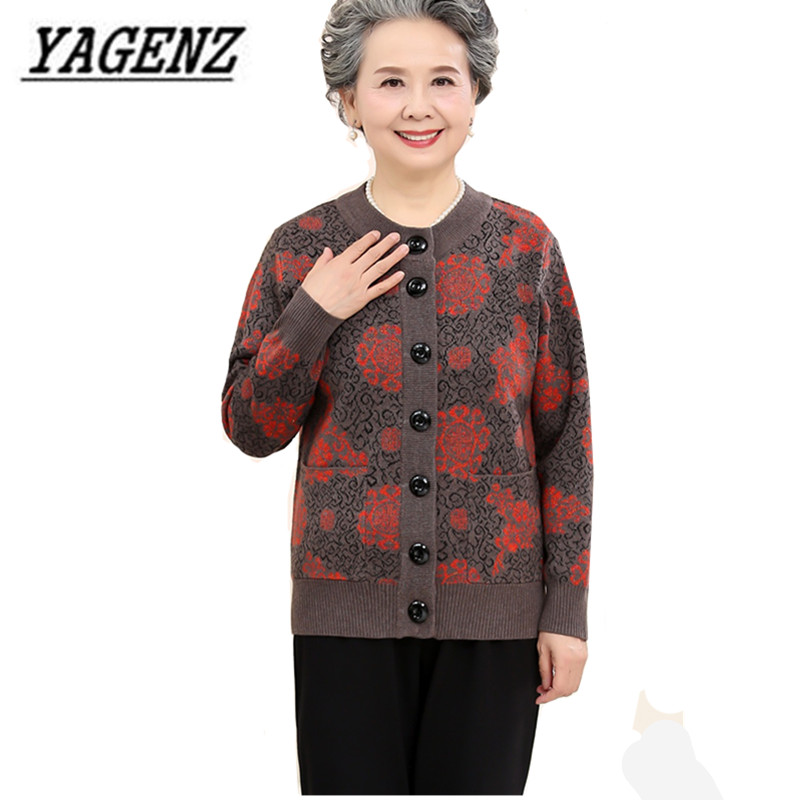 Large size 5XL Middle aged Women Knitted Sweater Coat Spring Autumn Loose Thick Grandmother Woman Cardigan