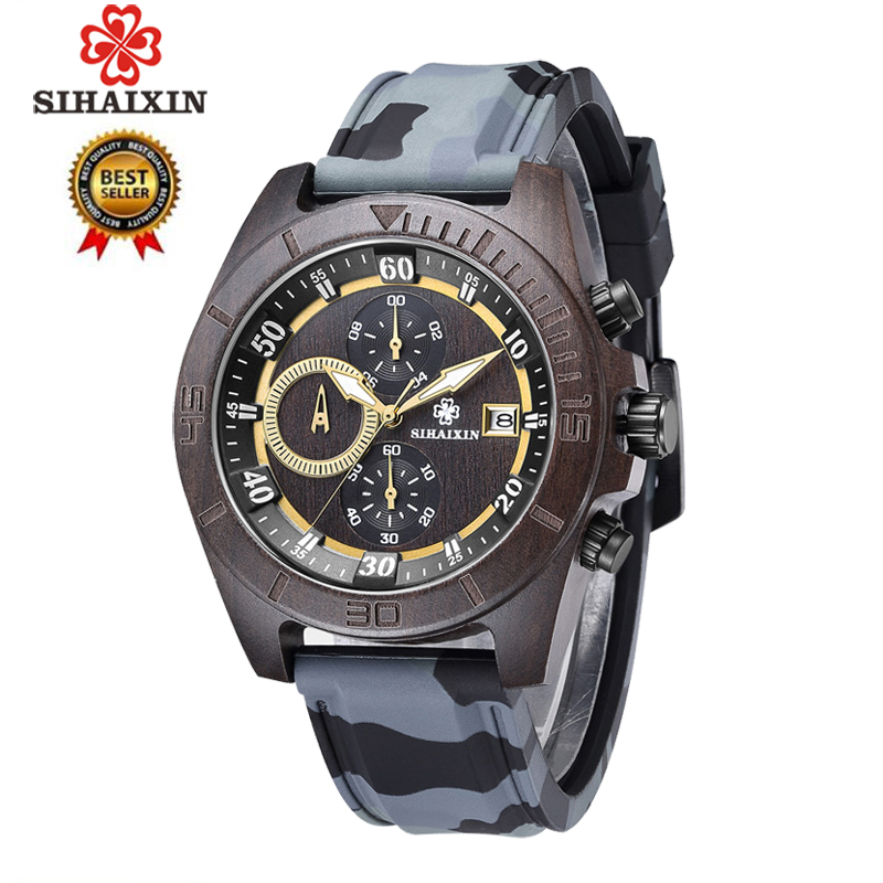 SIHAIXIN Military Sport Wooden Watch Men with Silicone Strap Quartz Wood Wristwatch Chronograph Clock Man Waterproof