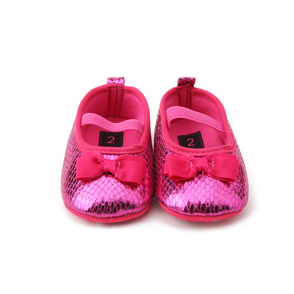 Delebao Newborn Rose Red Color Baby Princess Print Butterfly-knot Baby Shoes For Spring/Autumn Soft Sole Shoes