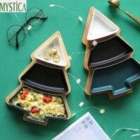Home Snack Candy Storage Tray Holder Ceramics Christmas Tree Dessert Food Organizer Plate Nut Fruit Melon Partition Storage Box