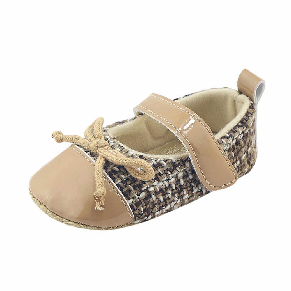 TELOTUNY יילוד תינוקות בייבי בנות Bowknot נעלי עריסה רך Sole אנטי להחליק נעלי ספורט רך אנטי להחליק כותנה עריסה נעלי S3MAR6
