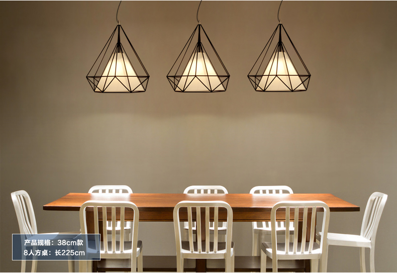 White Foyer Lighting : Conical pendant lights diamond shape e27 base black color iron