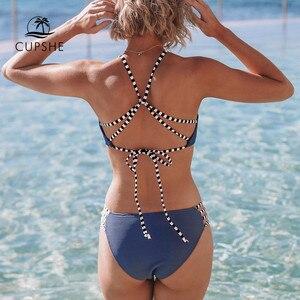 Image 2 - CUPSHE granatowy selera i Strappy Bikini Set Sexy Lace Up strój kąpielowy strój kąpielowy dwuczęściowy kobiety 2019 dziewczyny na plaży kostiumy kąpielowe