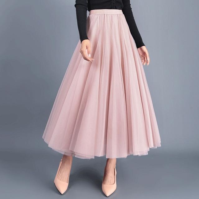 7b5c522cd Autumn Winter Long Tulle Skirts Womens Elegant Maxi Tutu Adult Mesh Skirt  Pink Grey Black
