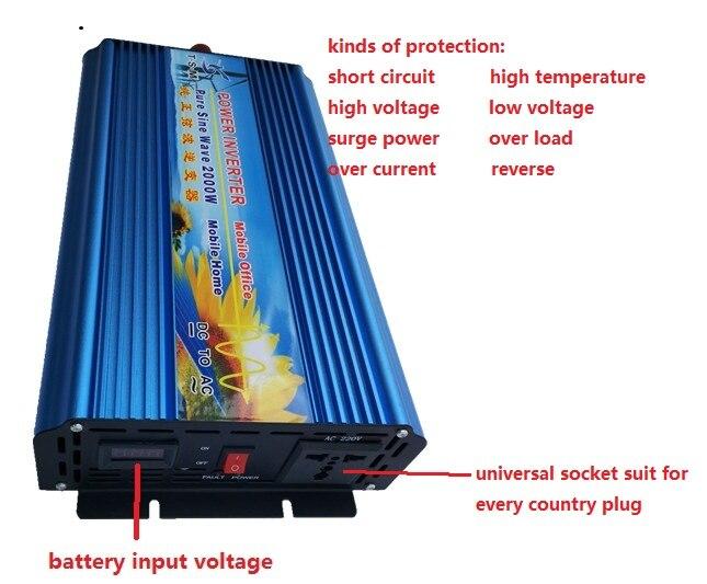 2000W Power Inverter peak power 4000w inverter 12V dc to 110V ac 60HZ or 12v dc to 220v ac 50hz Pure Sine Wave for Solar System