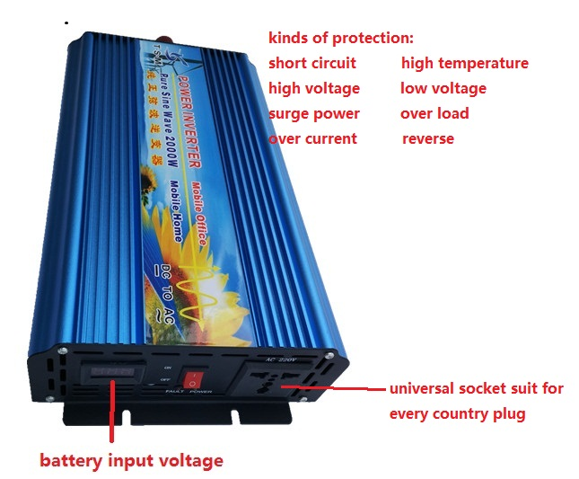 цена на off grid peak power 4000w 12V/24V dc to 110V/220V ac Pure Sine Wave inverter rated power 2000W digital display power inverter