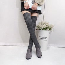 BORRUICE New Woman Flat Shoes Knitted Long Boots with Velvet Keep Warm Ladies Winter Thigh High Over the knee Black