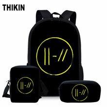 ThiKin Twenty One Pilots School Bag Set for Girls Boys Hip Hop Fans Fashion Backpack Teenager Personalized Book Bags 3 Pcs