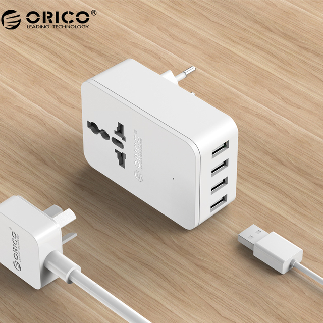 ORICO USB Charger 20W Universal Power Plug iPhone 7 Travel Converting Adapter Surge Protector with 4 USB Charging Ports(S4U)